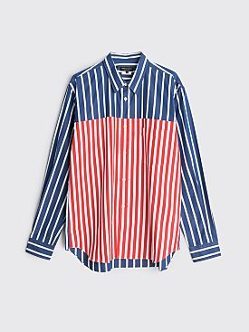 Comme des Garçons Homme Plus Broad Stripe And Oxford Stripe Shirt Navy / Red