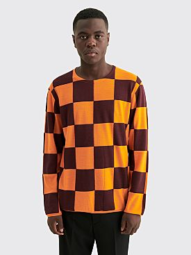 Comme des Garçons Homme Plus Worsted Yarn Intarsia M Check Sweater Orange / Burgundy