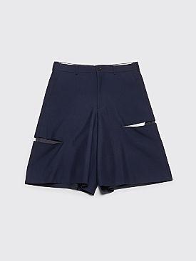 Comme des Garçons Homme Plus Wide Cut Detail Shorts Navy