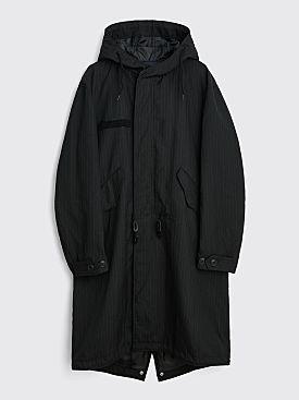 Comme des Garçons Homme Striped Wool Coat Black