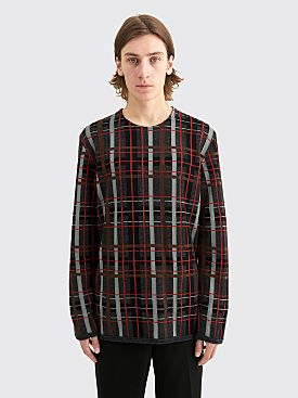 Comme des Garçons Homme Plus Worsted Yarn Intarsia J Check Sweater Grey