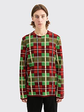 Comme des Garçons Homme Plus Worsted Yarn Intarsia H Check Sweater Burgundy / Green