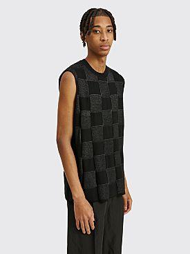 Comme des Garçons Homme Plus Wool Checkered Panel Vest Black / Silver