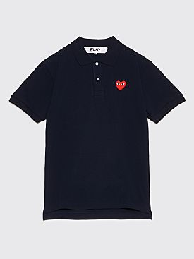 Comme des Garçons Play Small Heart Polo T-Shirt Dark Navy