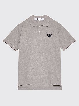 Comme des Garçons Play Small Heart Polo T-Shirt Grey