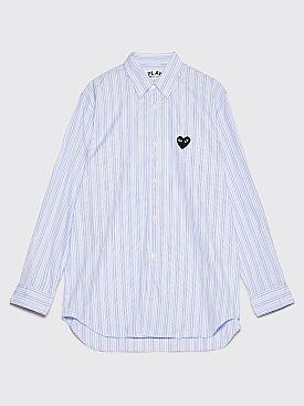 Comme des Garçons Play Small Heart Shirt Blue / Navy Stripe