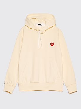 Comme des Garçons Play Small Heart Hooded Sweatshirt Pale Yellow