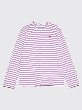 Comme des Garçons Play Mini Heart LS T-Shirt Lilac Stripe