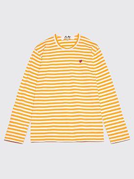 Comme des Garçons Play Mini Heart LS T-Shirt Orange Stripe