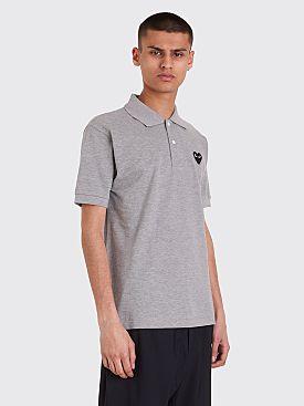 Comme des Garçons Play Small Heart Polo T-Shirt Grey