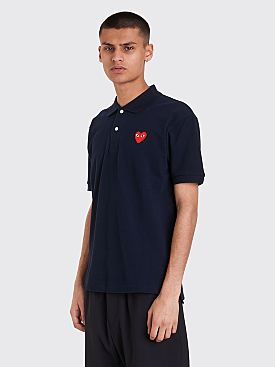 Comme des Garçons Play Small Heart Polo T-Shirt Dark Navy