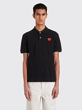 Comme des Garçons Play Small Heart Polo T-Shirt Black