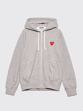 Comme des Garçons Play Small Heart Zip Up Hooded Sweatshirt Grey
