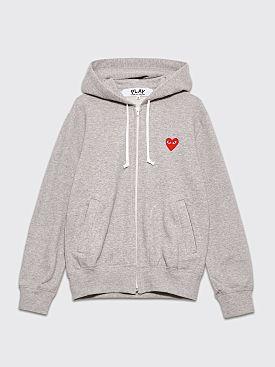 Comme des Garçons Play Small Heart Zip Up Hooded Sweatshirt Grey