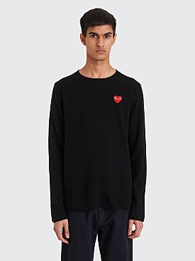 Comme des Garçons Play Small Heart Knitted Sweater Black