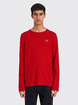 Comme des Garçons Play Small Heart Knitted Sweater Red
