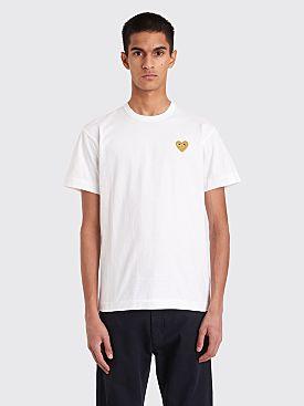 Comme des Garçons Play Small Gold Heart T-Shirt White