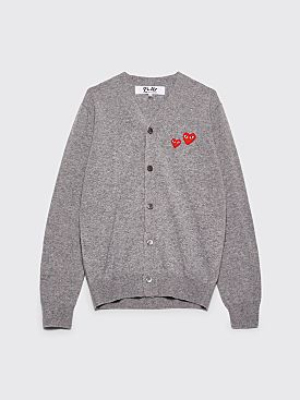 Comme des Garçons Play Double Heart Knitted Cardigan Grey