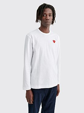 Comme des Garçons Play Small Heart LS T-shirt White Red