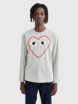 Comme des Garçons Play Printed Big Heart LS T-shirt Grey