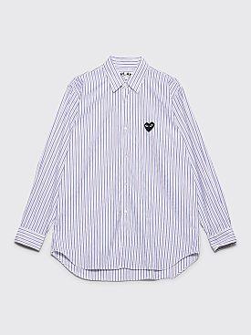 Comme des Garçons Play Small Heart Shirt Stripe Blue / Brown
