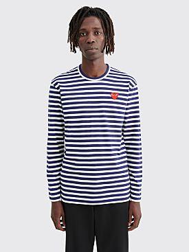 Comme des Garçons Play Small Heart LS T-Shirt Navy Stripe