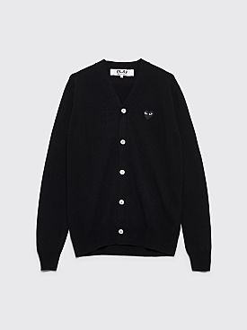 Comme des Garçons Play Small Heart Knitted Cardigan Black