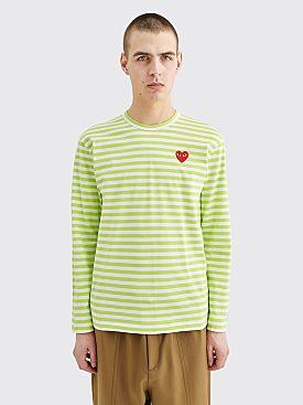 Comme des Garçons Play Small Heart LS T-shirt Stripe Green