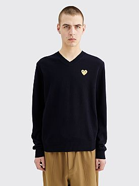 Comme des Garçons Play Small Heart Knitted V-Neck Pullover Navy