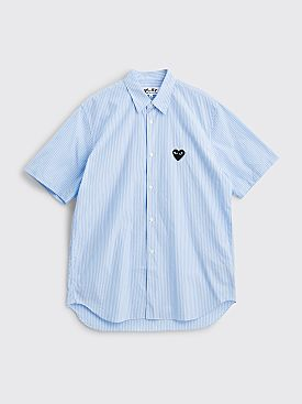 Comme des Garçons Play Small Heart Short Sleeve Shirt Stripe Blue / Navy