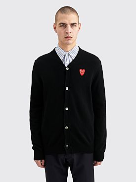 Comme des Garçons Play Double Heart Knitted Cardigan Black