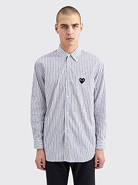 Comme des Garçons Play Small Heart Shirt Stripe Blue / Brown