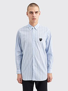 Comme des Garçons Play Small Heart Shirt Blue / Navy Stripe