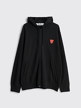 Comme des Garçons Play Double Heart Hooded Zip Sweatshirt Black