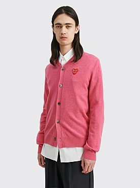 Comme des Garçons Play Double Heart Knitted Cardigan Pink