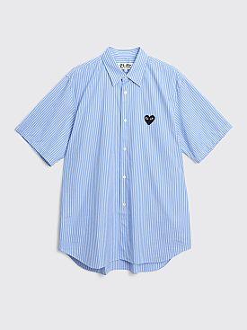 Comme des Garçons Play Small Heart Short Sleeve Shirt Stripe Blue