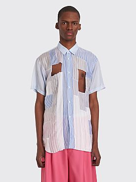 Comme des Garçons Shirt Cut Detail Short Sleeve Shirt White / Blue