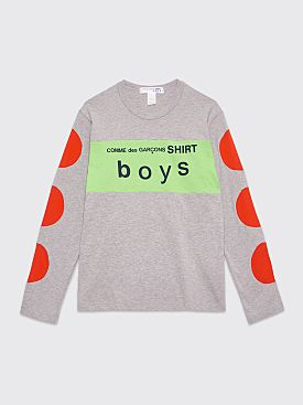 Comme des Garçons Shirt Boys Logo Panel LS T-shirt Grey / Green
