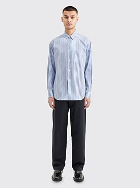 Comme des Garçons Shirt Forever Regular Fit Yarn Dyed Poplin Shirt Blue Stripe