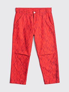 Comme des Garçons Shirt Cotton Floral Pants Red