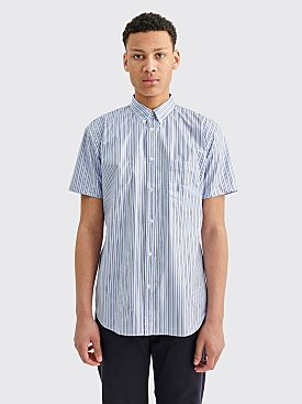 Comme des Garçons Shirt Coated Short Sleeve Shirt Blue Stripes