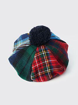 Comme des Garçons Shirt Wool Tartan Hat Navy Pompon