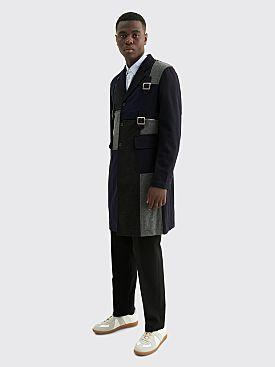 Comme des Garçons Shirt Merino Wool Buckle Coat Navy Mix