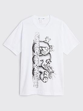 Comme des Garçons Shirt x KAWS Logo Print T-shirt White / Black