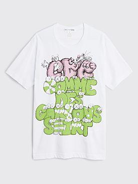 Comme des Garçons Shirt x KAWS Logo Print T-shirt White / Green