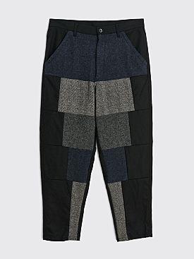 Comme des Garçons Shirt Patchwork Wool Pants Black