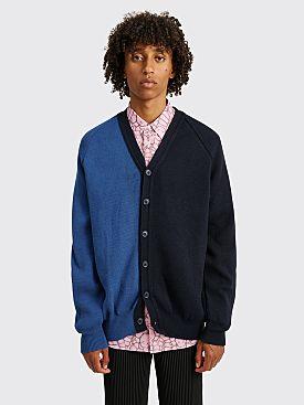 Comme des Garçons Shirt Color Block Knit Cardigan Blue