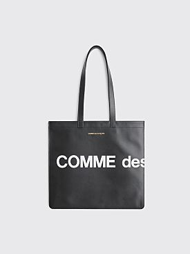 Comme des Garçons Wallet Huge Logo Leather Bag Black