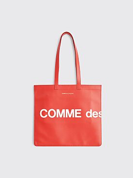 Comme des Garçons Wallet Huge Logo Leather Bag Red