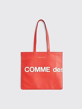 Comme des Garçons Wallet Huge Logo Leather Bag Red